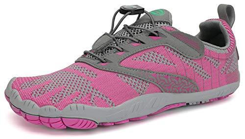 SAGUARO Barfussschuhe Barfußschuhe Damen Traillaufschuhe Straßenlaufschuhe Sommer Barefoot Wander Trekking Training Fitness Sneaker Breiter Zehenbox Minimalistische Schuhe, Rosa, 42 EU