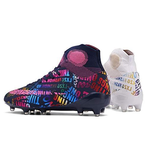 Botas de fútbol adolescente fútbol, zapatos entrenamiento atletismo cubierta deportes aire libre las zapatillas deporte unisex transpirable alta Cubra con Grapa la Hombres zapatos niña Niños