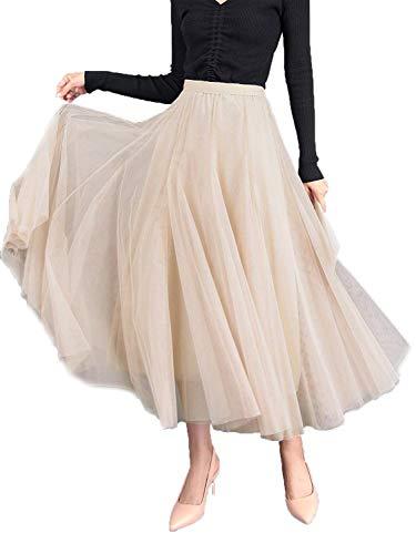 WangsCanis Damen Langer Tüllrock A Linie Tüll Röcke Einheitsgröße Elegante Hochzeit Tutu Maxiröcke (Beige, Einheitsgröße)