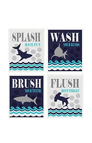 Amazon Com Kids Shark Bathroom Wall Art Kids Bathroom Wash Flush Brush Splash Shark Bathroom Theme Shark Art Boy Bathroom Child Bathroom Decor Handmade