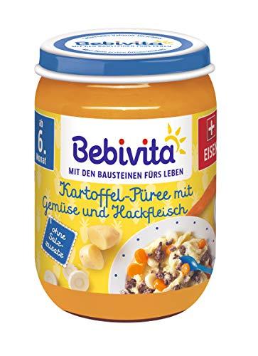 Bebivita Kartoffel-Püree mit Gemüse und Hackfleisch, 6er Pack (6 x 190 g)