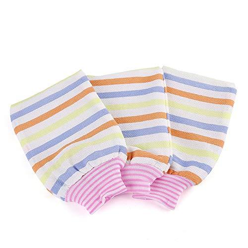 Bumpy Road 3 pièces Gants de Bain en Fibres absorbantes à Rayures colorées Serviettes exfoliantes Gants de Gommage