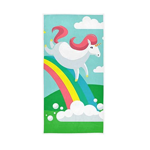 YUELAI Serviette de Bain Douce Unicorn Dash Serviettes absorbantes polyvalentes pour Salle de Bain Hôtel Gym et Spa (30 'x15')
