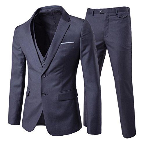 Men's 3-Piece Suit 2 Buttons Slim Fit Solid Color Jacket Smart Wedding Formal Suit,Dark Grey,Medium
