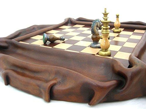 Schaakbord groot van massief leer met schaak 47x47x5