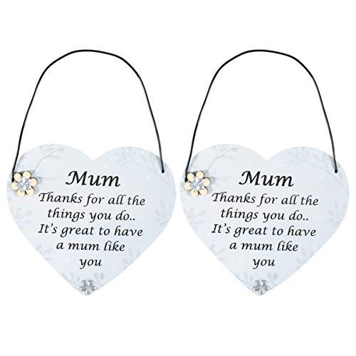 Amosfun 2 peças especiais de lembrança de mãe presente coração estilo vintage placa de madeira para o dia das mães