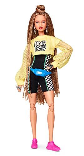 Barbie GHT91 BMR1959 Streetwear Signature bewegliche Puppe mit geflochtenem Haar und Radlerhose, inkl. Accessoires und Puppenständer
