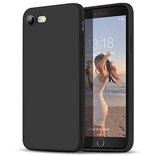 GOODVISH Funda para iPhone 7/8/SE 2020 de 4,7', Case de Silicona Líquida Ultra Delgada Protección de Pantalla y Cámara Mejorada Disipación de Calor Rápido Especial Diseño de Borde Recto(Negro)