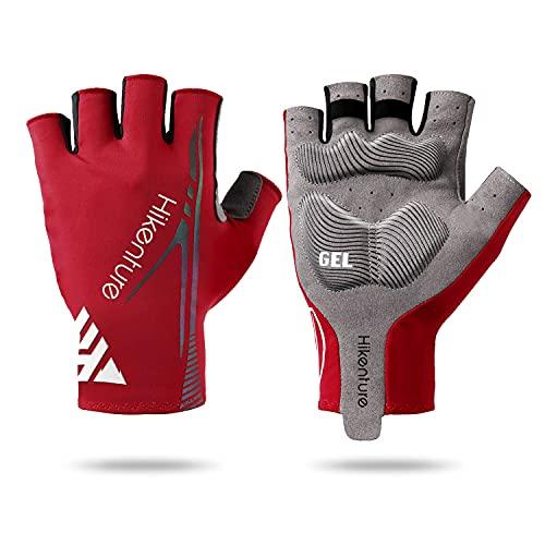 HIKENTURE Gants de cyclisme pour homme et femme - Demi-doigts - Réfléchissants - Pour vélo - Idéal pour le fitness - Rouge - XL