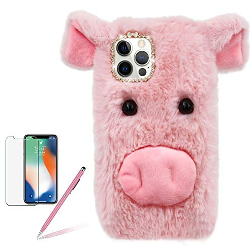 Pig Case for Samsung Galaxy A42 5G, Girlyard Cute Plush 3D Cartoon Piggy Funny Shell Fluffy Soft Fake Fur Warm Furry Shockproof Protective Cover with Bling Glitter Diamond Bowknot - Pink