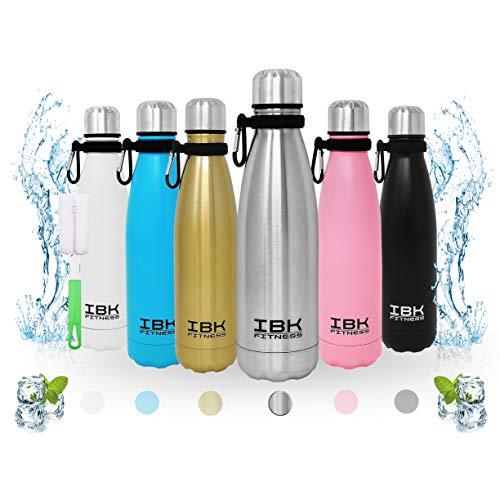 IBK Fitness – Botella de agua de 500 ml, de acero inoxidable, sin BPA, con gancho y accesorio limpiador (plata)