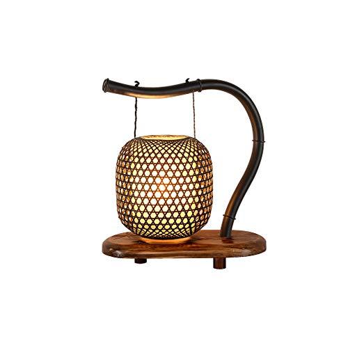 JIAXIAO Ship Lámpara de mesita de Noche de Madera Zen Vintage de Estilo japonés, lámpara de Mesa Art Deco Tejida a Mano, con Bombilla para Sala de Estar, Estudio, Dormitorio Familiar, mesita de Noche