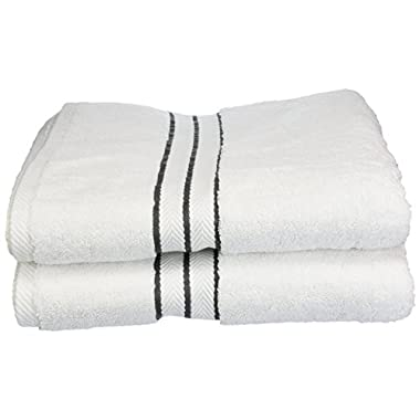 Superior Hotel Collection 900 Gram, 100% Premium Long-Staple Combed Cotton 2 Piece Bath Towel Set, White with Charcoal Border