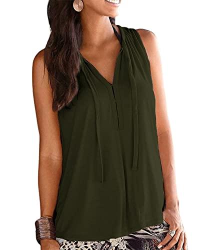 LilyCoco Mujer Camisa Camisetas Tirantes Elegante Suelta Sleeveless Top Shirt Señora Camiseta Blusa Sin Mangas de Moda Camisa Mujer con Cuello en V Shirts Sin Mangas Camisa de Verano Verde XL