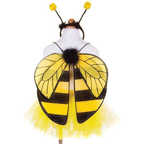 Amosfun 2 Stücke Biene Kostüm Set mit Biene Flügel und Bienen Stirnband für Kinder Karneval Ostern Party Cosplay