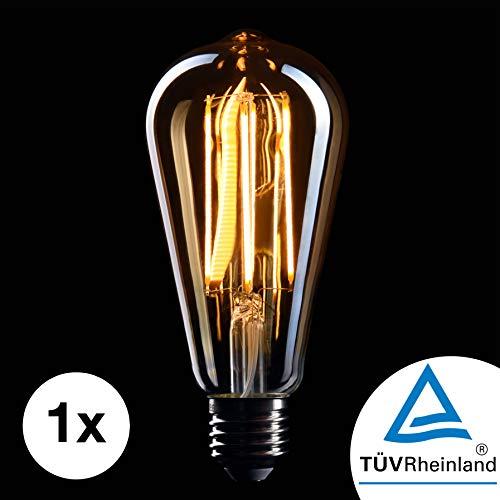 Crown LED Edison Gloeilamp E27 | Dimbaar, 5Watt, 2200K Warm Wit, 230 Volt, EL10| Antieke Filamentverlichting in Retro Vintage Universeel Plafond Lichten | 1X EU-energie-efficiëntie-etiket: A+