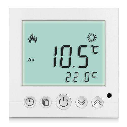 Termostatos digitales de pared (lectura de temperatura, LCD display con programador semanal, 16A), Pantalla luz blanca