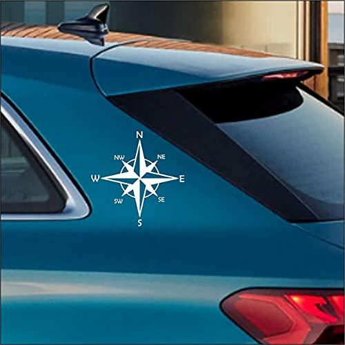 Adesivo bianco sticker Rosa dei Venti - Offroad fuoristrada, auto, camper, jeep, pickup per carrozzerai fiancata, vetro o specchio- 2 Pezzi (Bianco Cm 15x15)