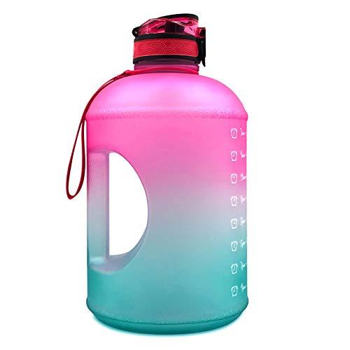 Botella de agua motivacional de 1 galón - con marcador de tiempo de pajita BPA Jarra de agua deportiva reutilizable grande con asa para entusiastas del ejercicio al aire libre a prueba de fugas