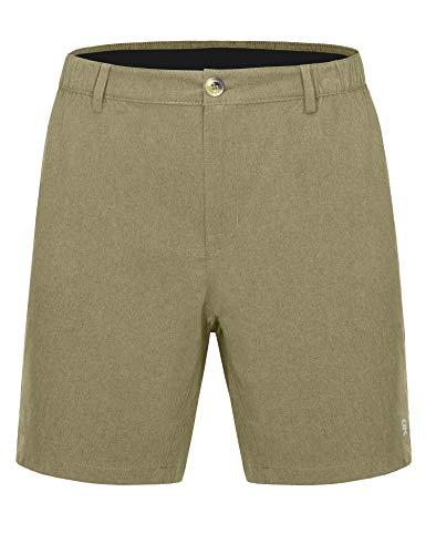 Little Donkey Andy Bermuda - Pantalones cortos elásticos ligeros de secado rápido para hombre, 22,4 cm, para golf, senderismo, viajes - lda461og01, Bermudas, S, Verde Oliver Heather