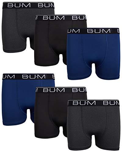 B.U.M. Equipment Boy's Performance Dry-Fit Compression Boxer Briefs (6 Pack), Navy/Charcoal/Black, Medium/8-10