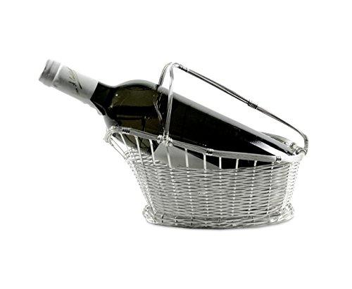 Edzard Cesta para Vino Tinto, Plateada y protegida contra el deslustre, Longitud 24 cm