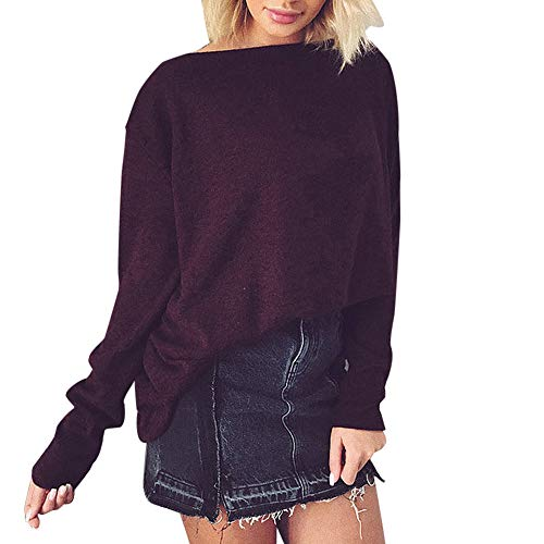 Coloré(TM Femme Oversize Pull Tops Col O Manches Longues Casual Shirt Robe Tunique Blouse (Vin, M)