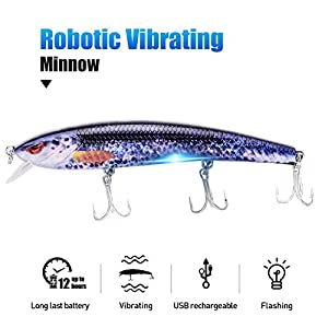 "TRUSCEND Robotic Fishing Electric Lures, 5"" USB Rechargeable LED Light Minnow, Bionic Vibrating Crankbait for Day and Night Fishing, Saltwater and Freshwater, Mustad Hook"