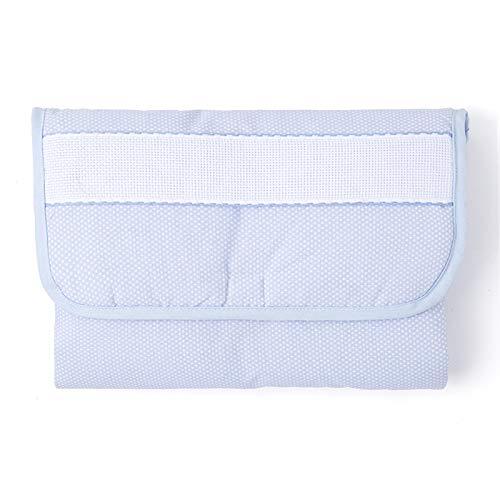 Barceló Hogar - Cambiador Bebe Portatil Motas Panamá, Cenefa para Bordar en Punto de Cruz, Medida 55x75 cm, Plegado 25x50 cm, Color 11 Azul