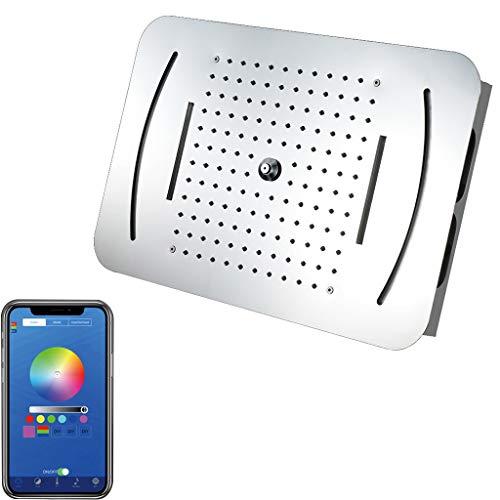 Juego de Ducha, Aerosol LED Glow Top Multifuncional en la Pared Acero Inoxidable con Cascada Rociar Lluvia Sistema de Ducha (Control Remoto) (Color : Cell Phone Control)