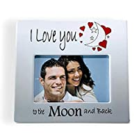 BANBERRY DESIGNS True Love Picture Frame - I Love You to The Moon and Back Design - 4 X 6 Photo Plaque for Couples - Valentine's Day [並行輸入品]