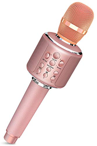 Karaoke Microphone, Wireless Microphone, Bluetooth Microphone, 3,000 mAh, Large Capacity, Bluetooth, TF Card, Wired Connection, Speaker, Recordable, Duet Eco, Accompany Play, Leather Handle, Case Included, Rechargeable, Karaoke Microphone, Party, New Year Party, Home, Birthday Gift, Japanese Instruction Manual (Rose Gold)