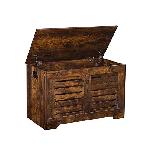 DINZI LVJ Storage Chest, Lift Top Wooden Toy Box with 2 Safety Hinges, Retro Entryway Chest Bench, Sturdy and Large Storage Trunk for Living Room, Bedroom, Toddler Room, Easy Assembly, Rustic Brown