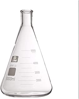 juler Glassware Labware Analytical Chemistry Glass Triangle Flask conical Flask 5000ml Tool high Temperature Resistance,Transparent,One Size