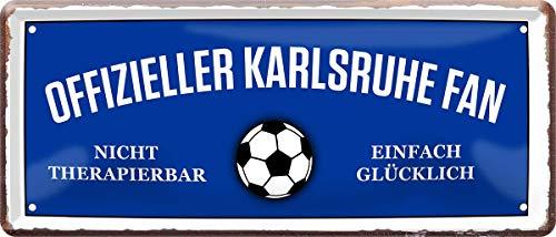 Offizieller Karlsruhe Fan - mühelosglücklich Fußball 28x12 cm Blechschild 1777