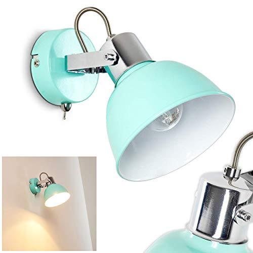 Wandleuchte Borik, verstellbare Wandlampe aus Metall in Mint/Weiß, 1-flammig, 1 x E14-Fassung max. 25 Watt, Wandspot im Retro/Vintage Design m. An-/Ausschalter am Gehäuse, LED Leuchtmittel geeignet