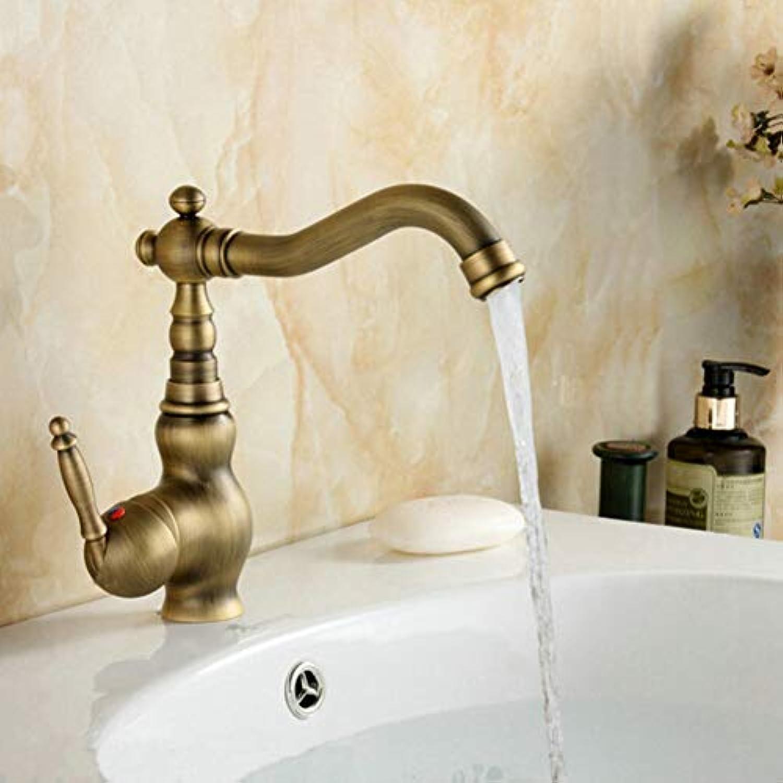 Waschtischarmatur Antique Brass Swivel Becken Waschbecken Mischbatterie Kran Einhand Einlochmontage Bad Wasserhahn