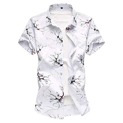 Camisa de Manga Corta para Hombre Camisa Casual Simple de Gran tamaño con Estampado de Moda Camisa de Manga Corta Camisa Informal de Negocios XL
