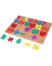 Gripande leksak, trä släta ljusa färger nummer pussel, bär resistent för barn baby(1-20 numbers)