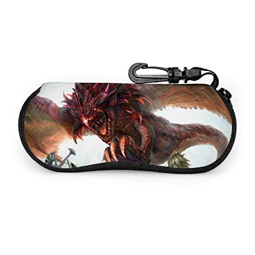 Monster Glasses Case Waterproof with Carabiner for Safety Glasses with Zipper,Portable Sunglasses Soft Case,Belt Clip