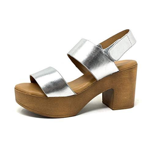 Angkorly - Dames Mode Schoenen Sandalen Klompen - Vintage/Retro - Licht Gewicht - Platform - Hout Effect - Glanzend Blok hoge hak 8.5 cm