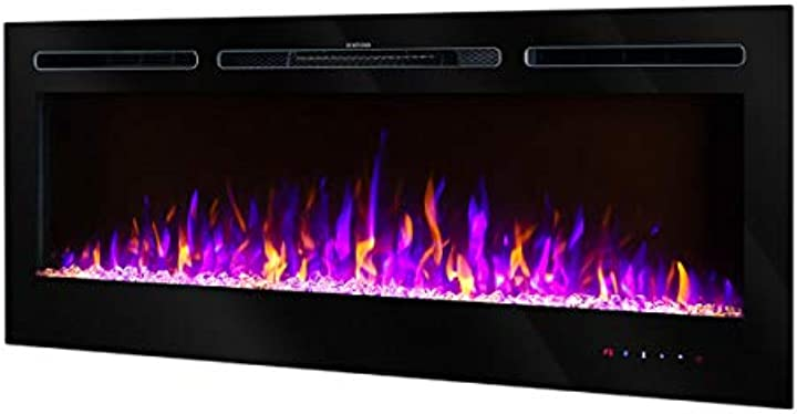 Camino elettrico hermes,potenza 1500w,da incasso nel muro,telecomando,fiamma colorata art flame B087QGW2PH