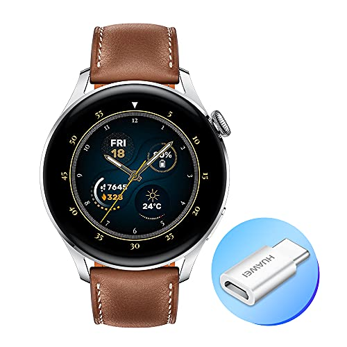HUAWEI WATCH 3 - Smartwatch 4G AMOLED 1,43 pollici, AP52, chiamata eSIM, batteria fino a 3 giorni, monitoraggio saturazione ossigeno, frequenza cardiaca 24 7, GPS, 5ATM, cinturino pelle Brown