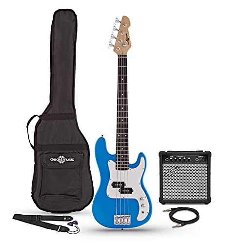 3/4 Bass Guitar LA by Gear4music Blue with 15W Amp