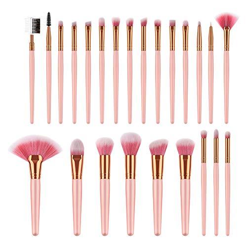 Chytaii. Pinceaux de Maquillage Professionnels Set de Brosse Maquillage Brosse Cosmétique Pinceau pour Poudre Fond de Teint Visage Fard à Paupières Lèvres Blush Sourcils Rose 24pcs