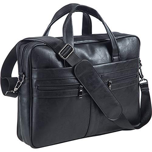 Leder Umhängetasche Herren, 15,6 Zoll Laptop Aktentasche Business Satchel Computer Handtasche Schultertasche (Schwarz)