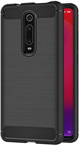 Coovertify Funda Fibra de Carbono Negra Xiaomi Mi 9T / 9T Pro, Carcasa Negra TPU Gel Silicona Flexible Textura Efecto Fibra de Carbono para Xiaomi Mi 9T / 9T Pro (6,39')