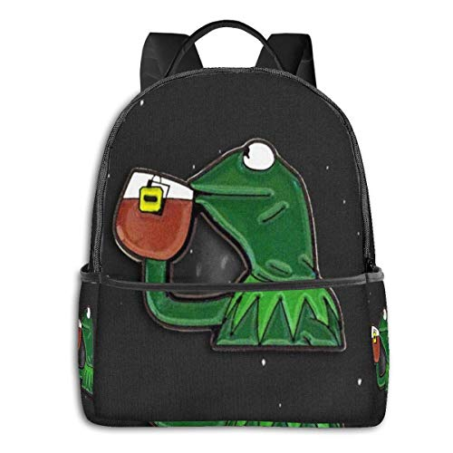IUBBKI Kermit Sipping Tea Student School Bag School Cycling Leisure Travel Camping Outdoor Backpack
