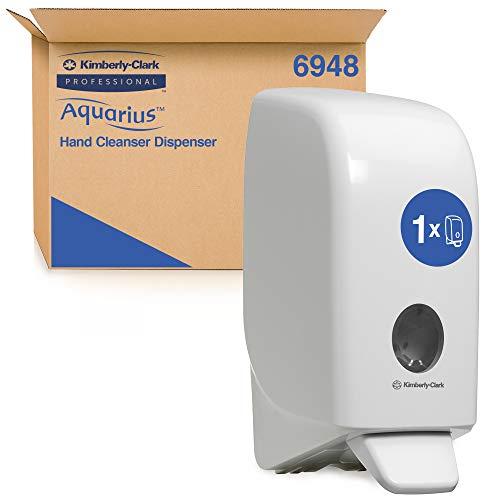 Aquarius 6948 - Dispenser Professionale Di Detergente Per Mani, Per Flaconi Di Sapone Da 1 Litro Compatibili, Ricarica Non Inclusa, Fissaggio A Muro, Bianco