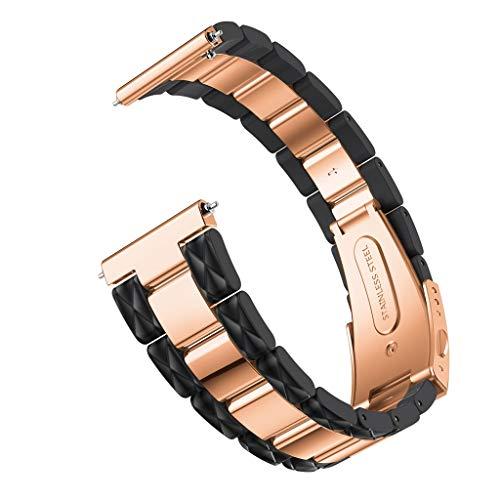 Crazboy Band, Edelstahl Schnellverschluss Easy Fit Armband für Samsung Galaxy Watch 42mm (Black)